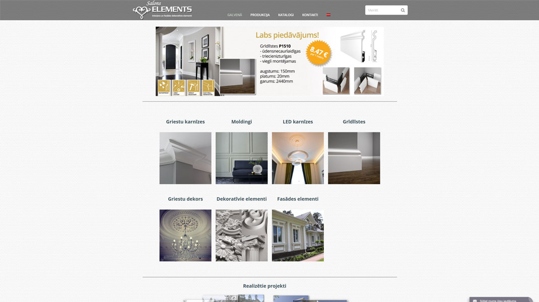 Salons Elements web site homepage screenshot image